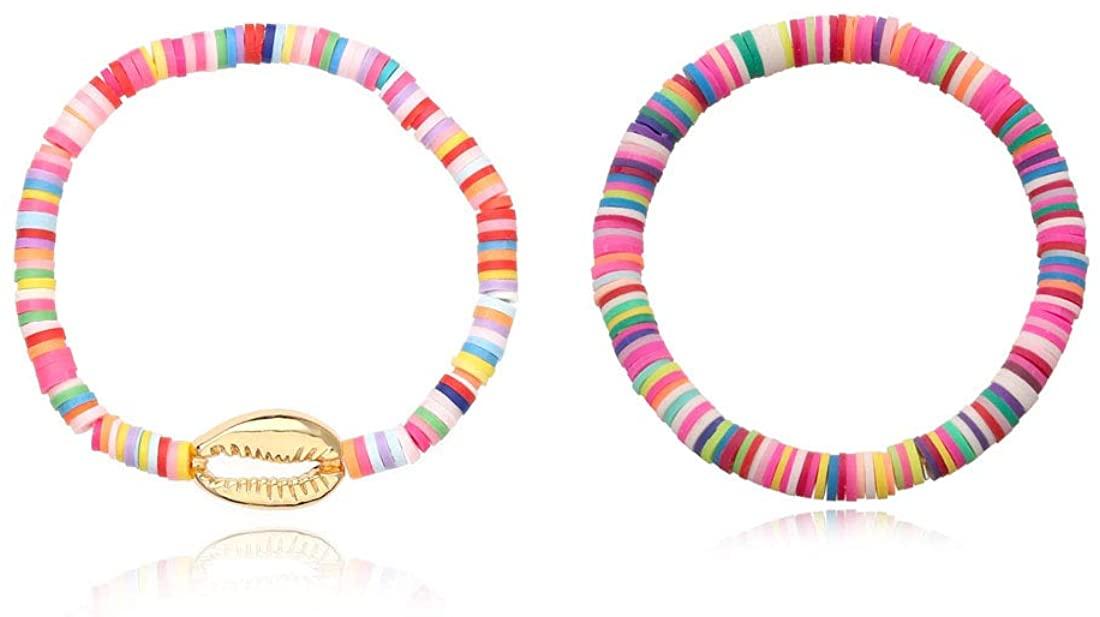 1-6 Pcs Rainbow Heishi Beaded Bracelet Colorful Afican Vinly Disc Polymer Clay Boho Surfer Handmade Bangle Set for Women Girls