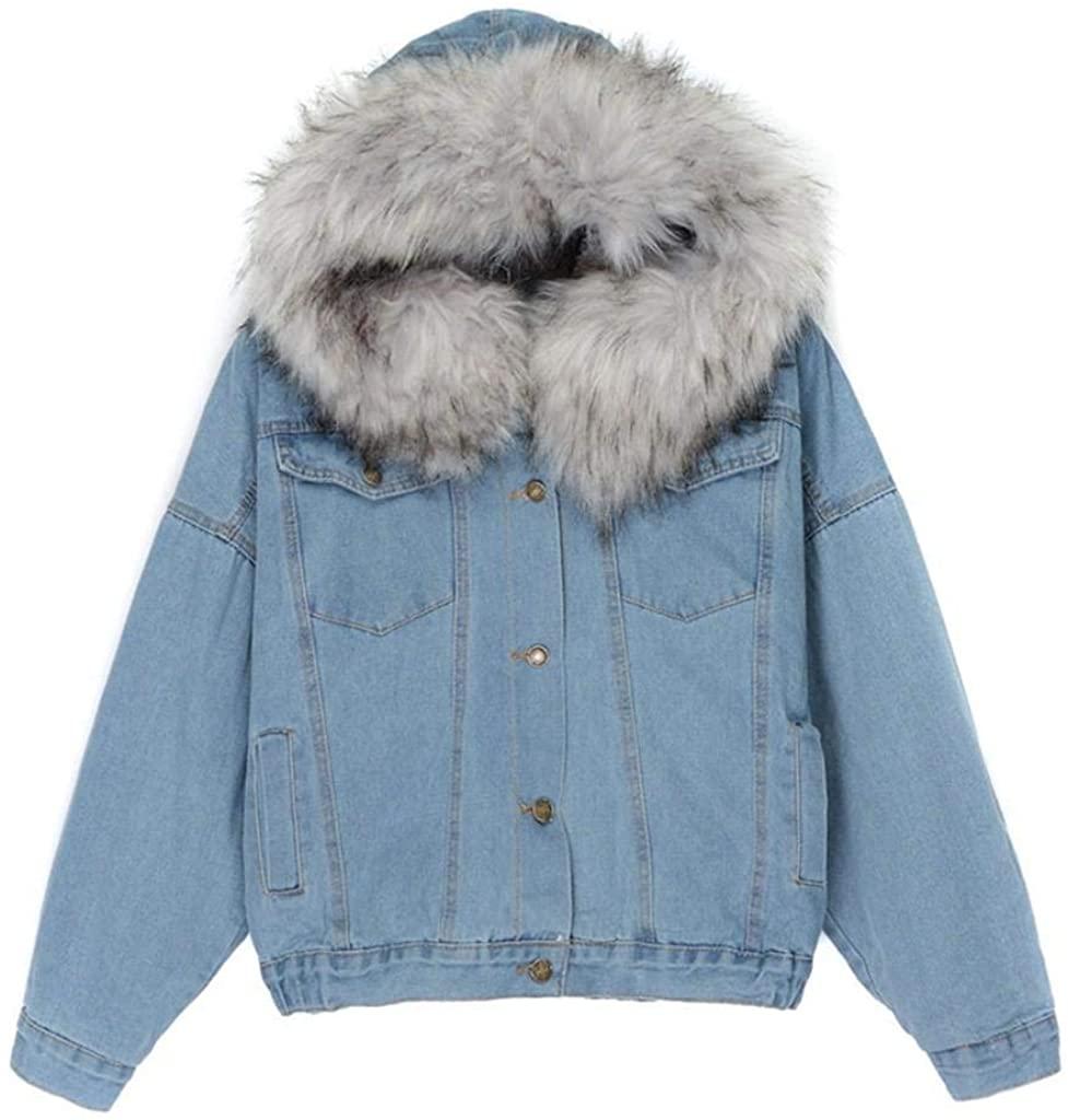 terbklf Women's Winter Hooded Fur Collar Thick Denim Jacket Outerwear Button Down Denim Coat for Women Lined with Faux Wool