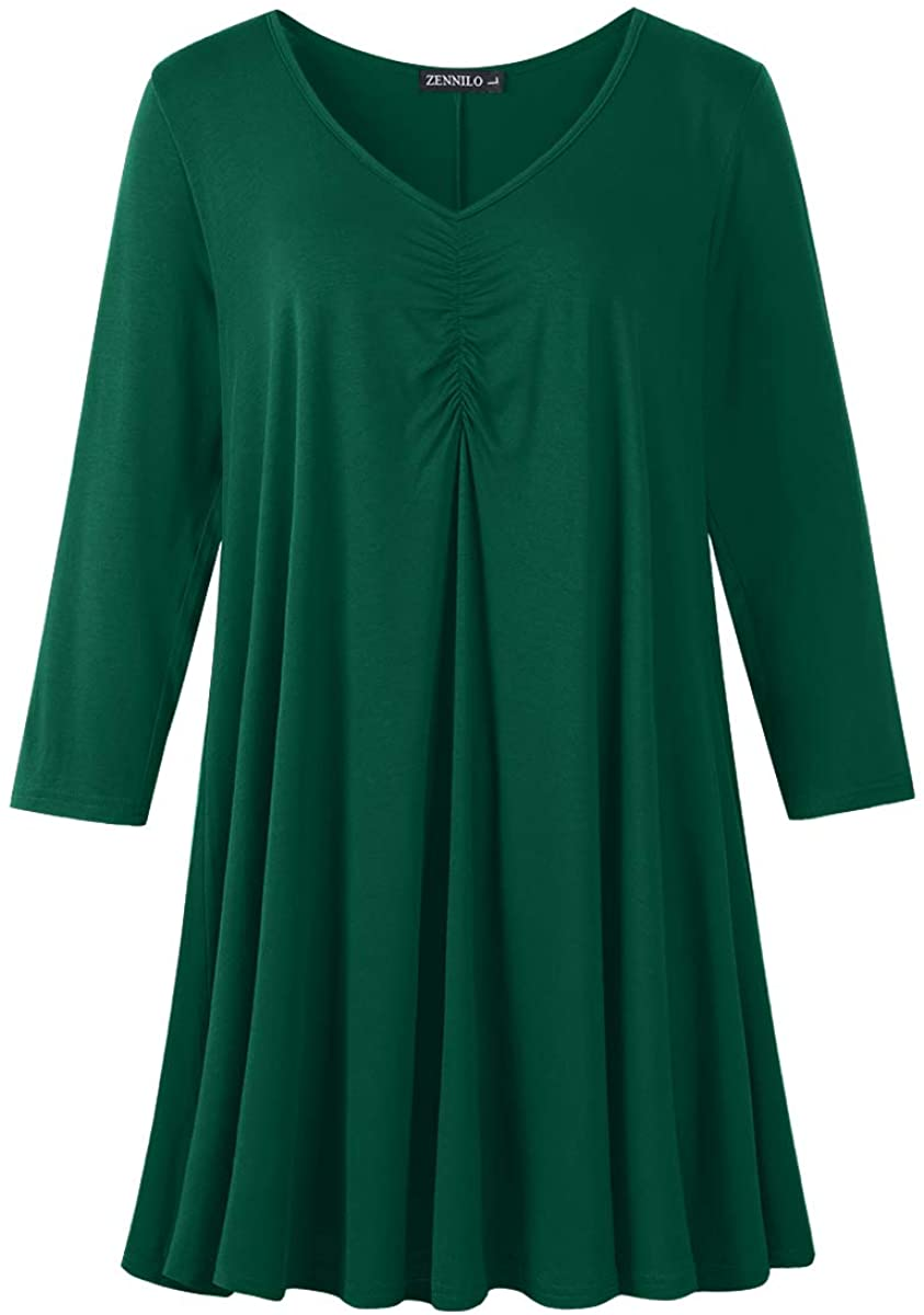 ZENNILO Women Plus Size Swing Tunic Tops Casual Basic Long Sleeve Ruched Shirt