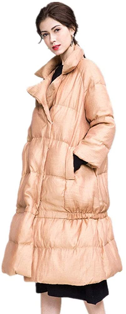 YZ-HOD Womens Down Jacket Winter Temperament Raglan Sleeves White Duck Down Warm Long Down Jacket, Two Colors Optional