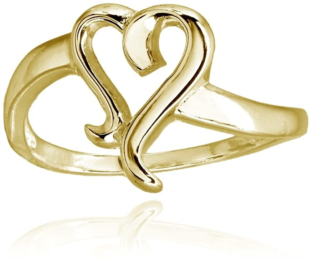 Sterling Silver Polished Midi Stackable Heart Promise Ring