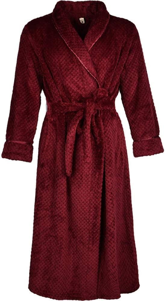 llwannr Bathrobe Robe Nightgown Sleep,Women Long Thick Warm Winter Super Bath Robe Lovers Kimono Bathrobe Men Dressing Gown Bride Wedding Bridesmaid Robes,Women Wine,XL