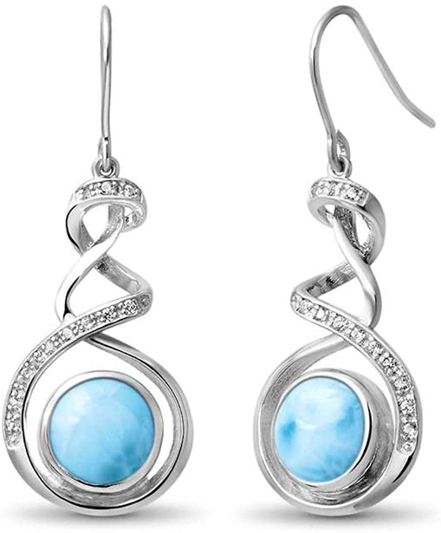 Marahlago - Dante Larimar Earrings with White Sapphire