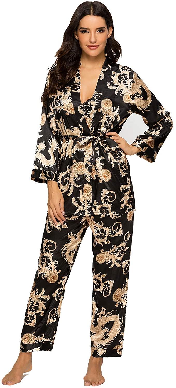 Escalier Women's Silk Satin Pajamas Set 3 Pcs Floral Silky Pj Sets Sleepwear Cami Nightwear with Robe and Pants