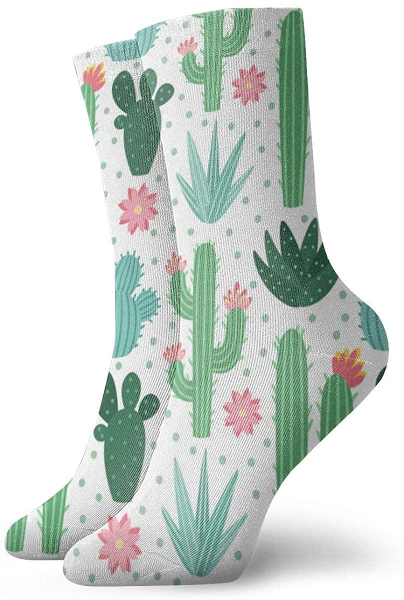 Seamless Cactus Pattern Exotic Desert Cacti Hiking Athletic Socks Cushion Crew Socks for Outdoor Sports
