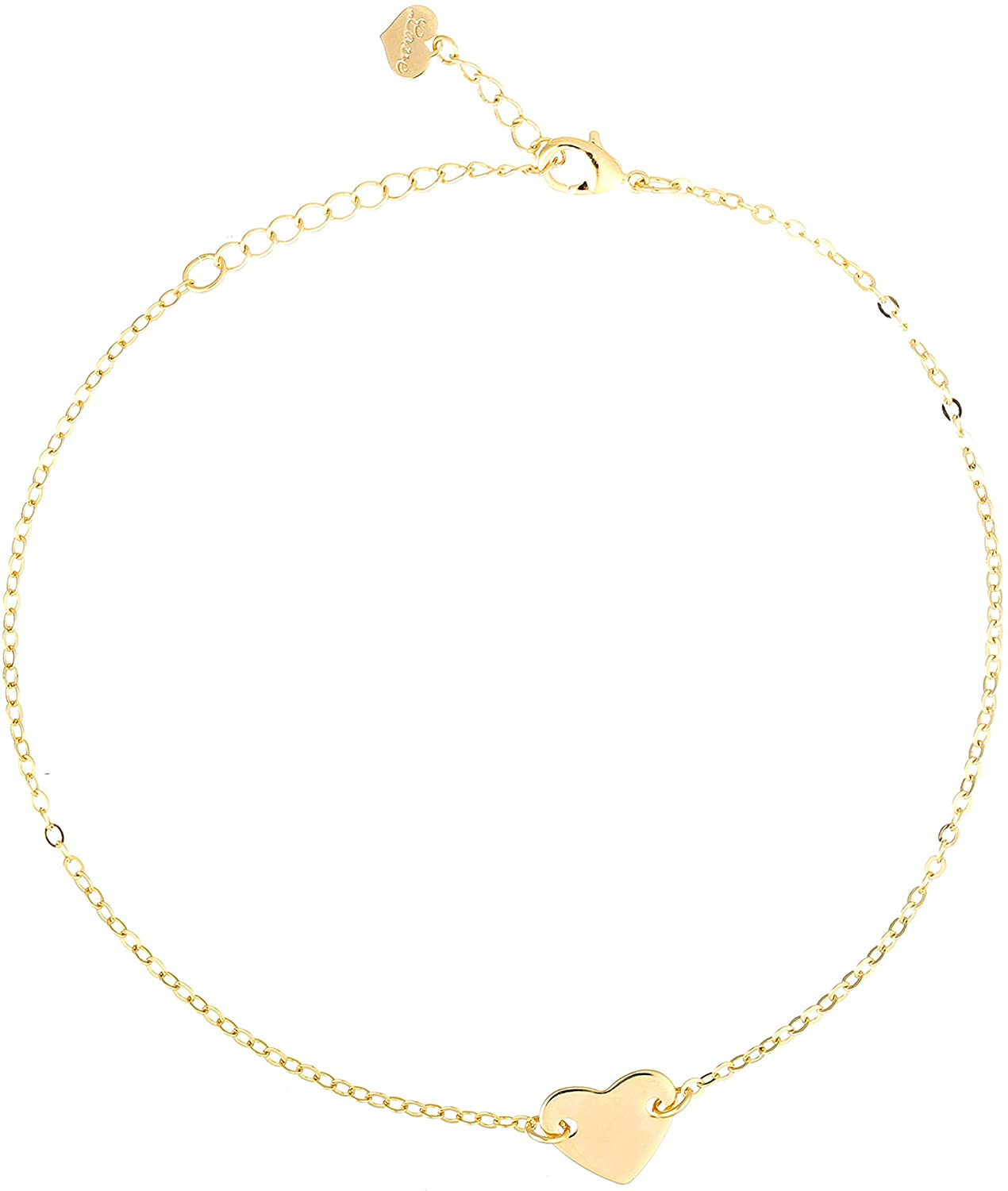 S.J JEWELRY Friendship Gift Handmade Dainty Anklet for Womens 14K Gold Plated/Silver Plated Cross and Heart Bead Chain Adjustable Foot Chain