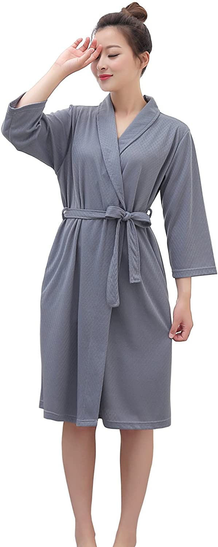 Vraquir Womens Waffle Bathrobe 3/4 Long Sleeves Kimono Lightweight Pajamas Loungewear Summer Hotel Spa Robe with Belt