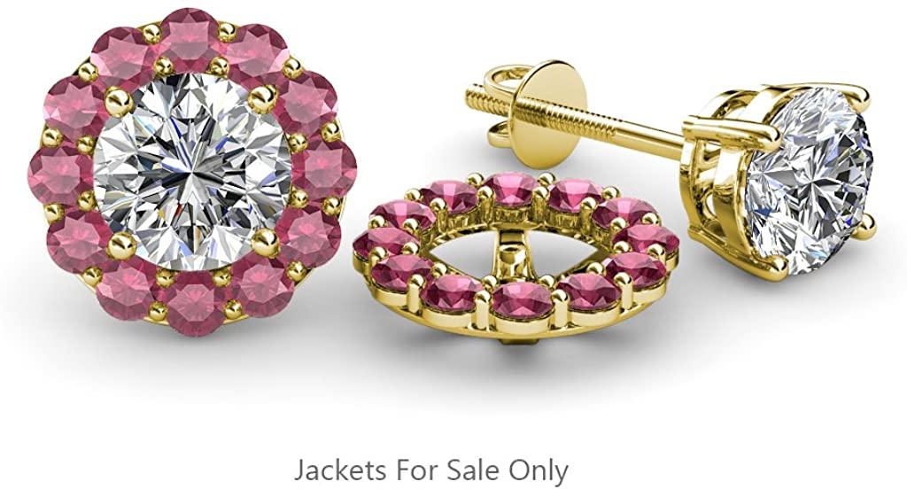 TriJewels Rhodolite Garnet Halo Jacket for Stud Earrings 0.66 ct tw in 14K Yellow Gold