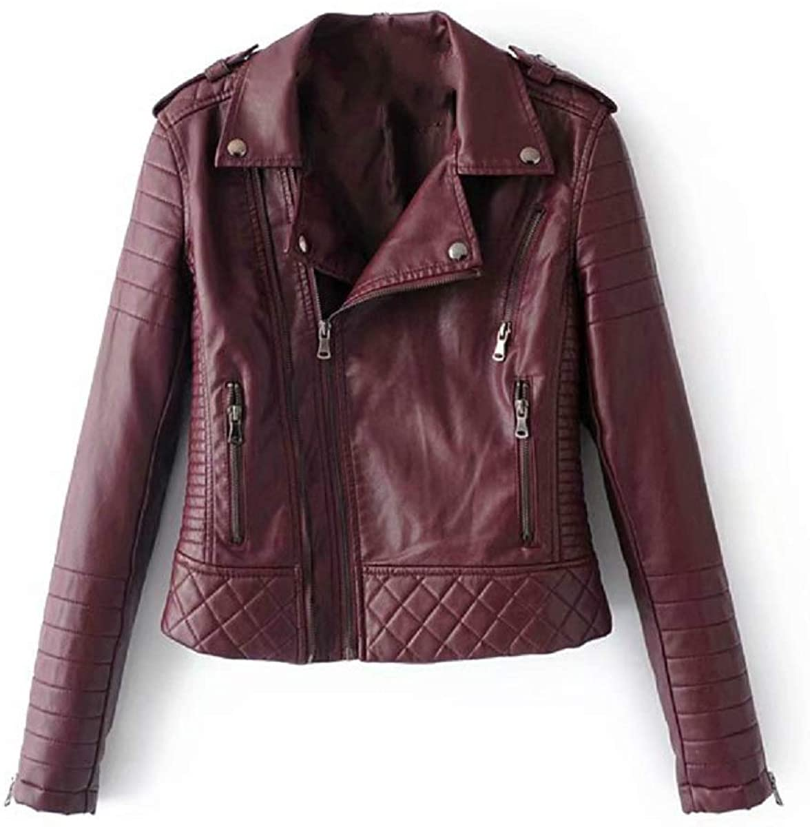 Womens Classic Faux Leather Short Long Sleeve Zipper Jacket