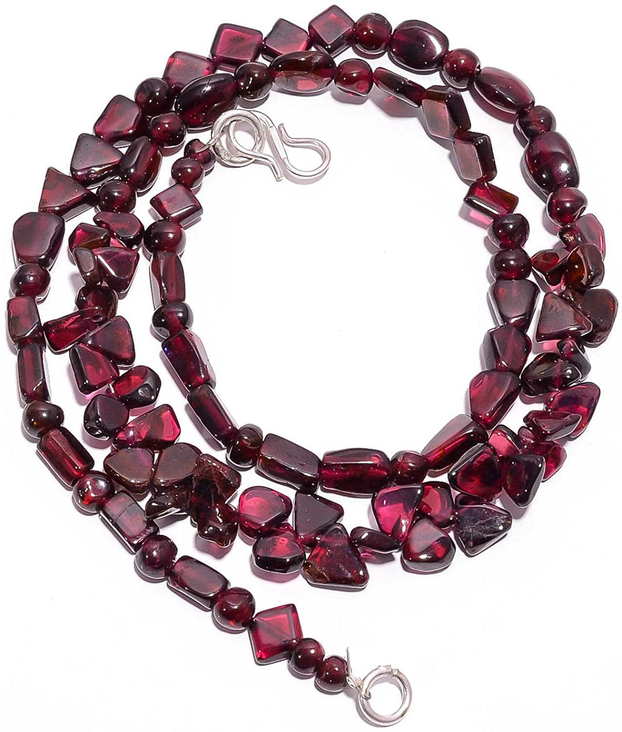 kanta incorporation Natural Mozambique Garnet Gemstone Smooth Beads Necklace 4-9 mm 18