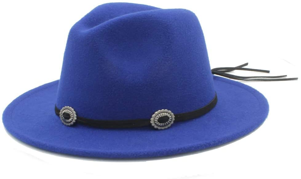 MADONG Men Women Authentic Winter Wool Fedora Hat Pop Panama Jazz Hat Wide Brim Fascinator Church Hat Size 56-58CM (Color : Blue, Size : 56-58)