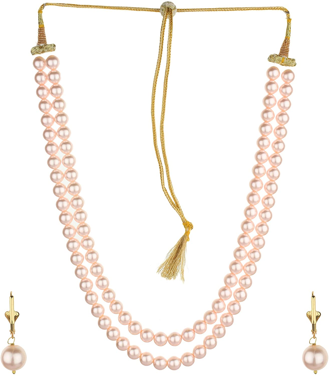 Runjhun Jewellery Pink Imitation Pearl 10mm Bead Size 2 Layered Indian Necklace Mala Set for Women Girls