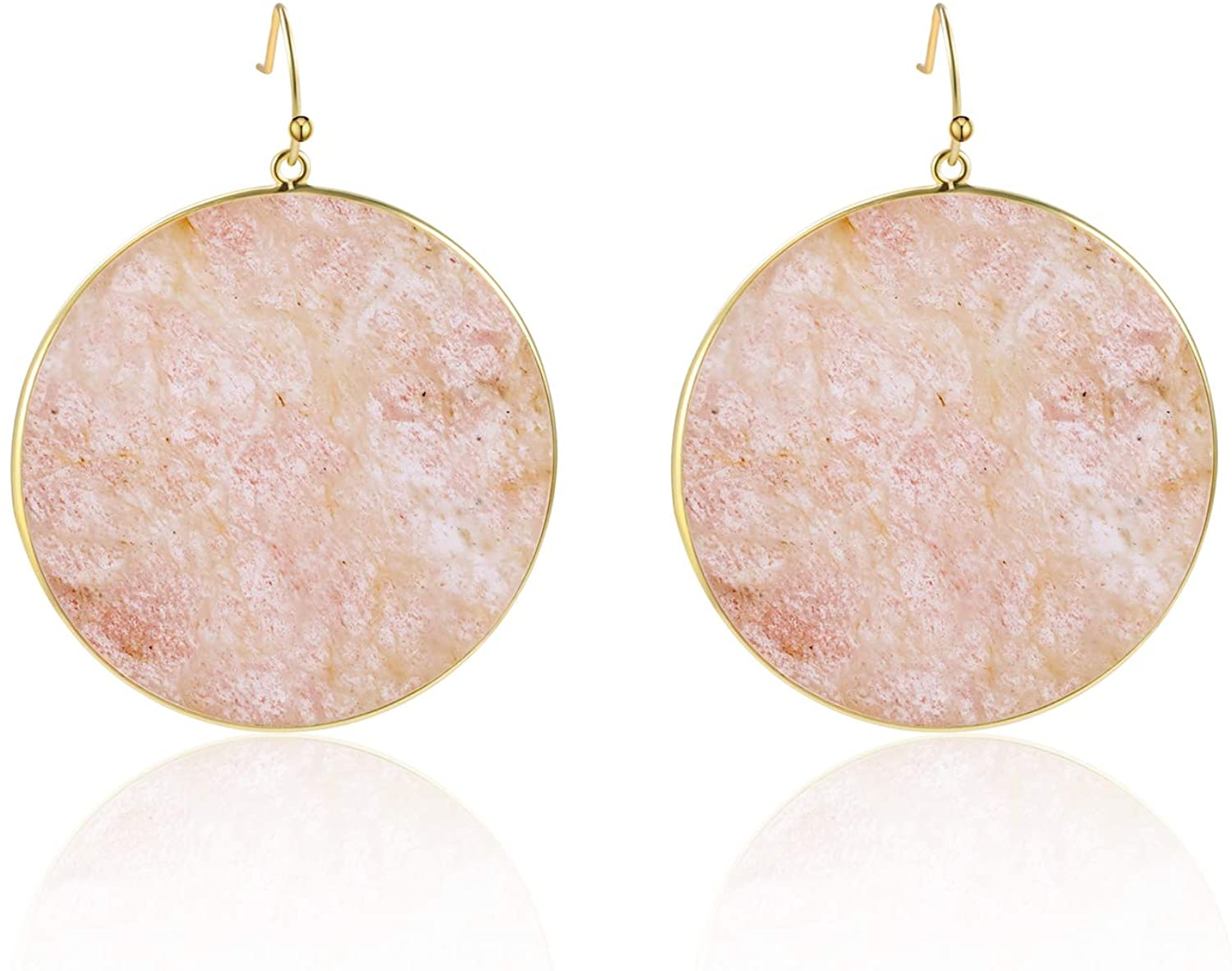 Moregone Natural Strawberry Crystal Stone Round Drop Earrings for Women Gift