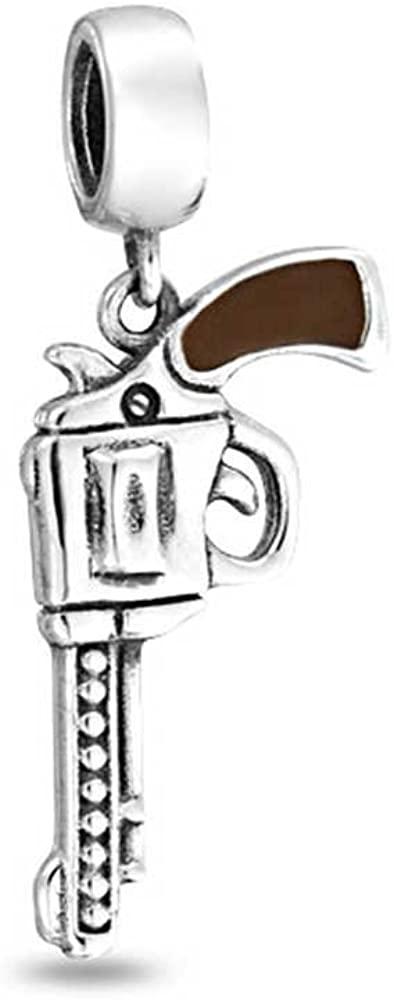 Western Marksmen Pistol Gun Revolver Dangle Bead Charm For Women 925 Sterling Silver Fits European Bracelet