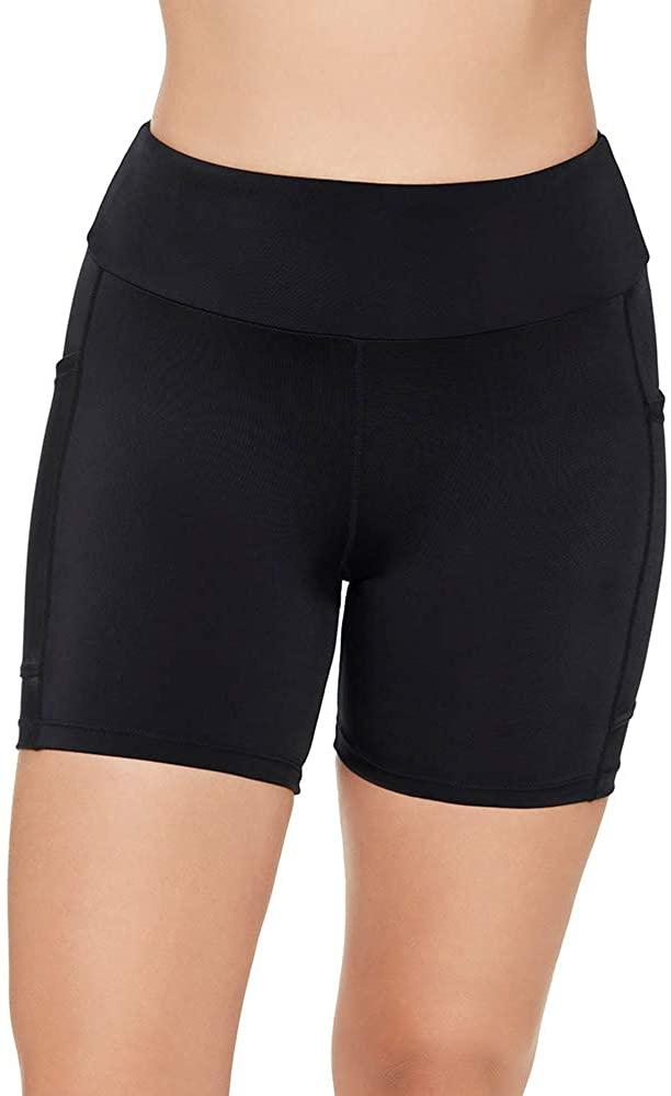Penbrooke Women's Swimwear Solid Yoga High Waist Tummy Control Swim Short Bottom with Pockets