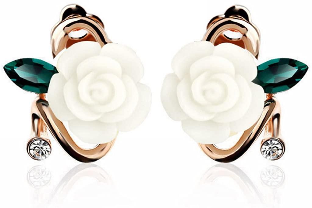 Merdia Charming Peony Flower Clip Earrings with Green leaves for Elegent Beautiful Women or Girls