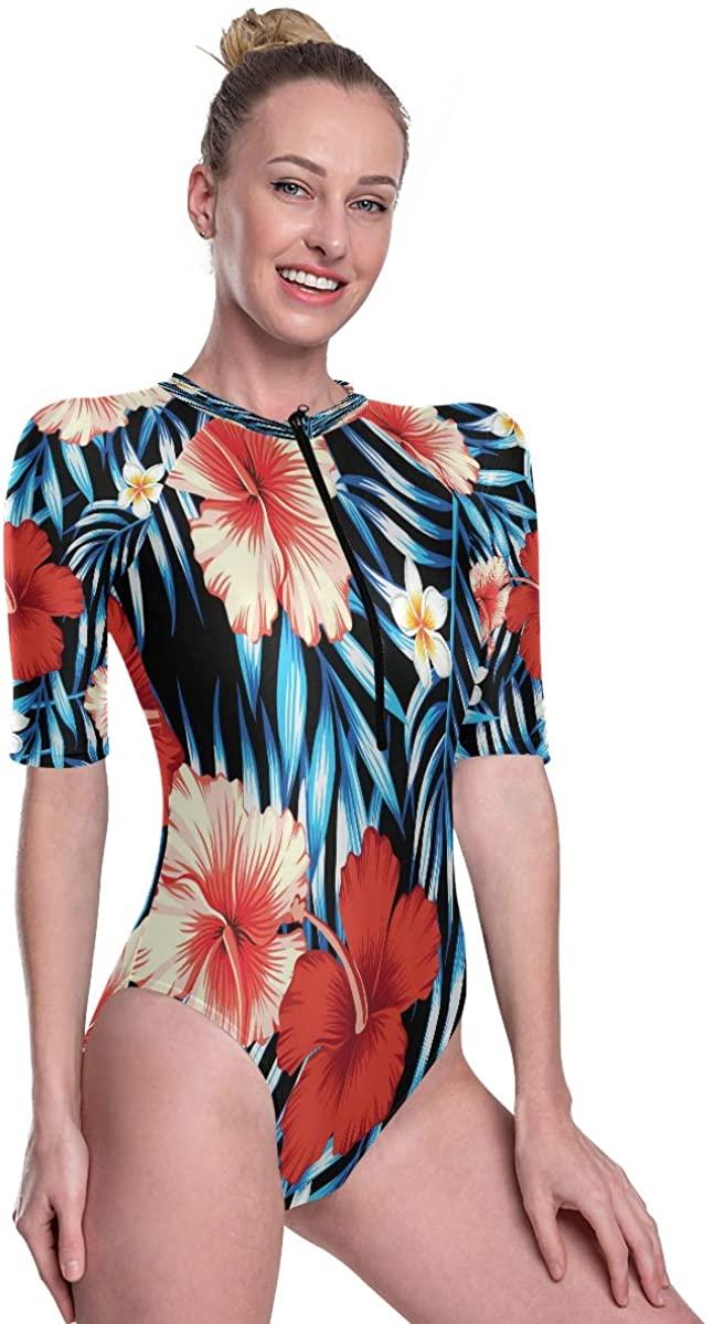 Women's One Piece Short Sleeve Rashguard Surf Swimsuit Hawaii Tropical Natural Floral Seamless Pattern Bikini