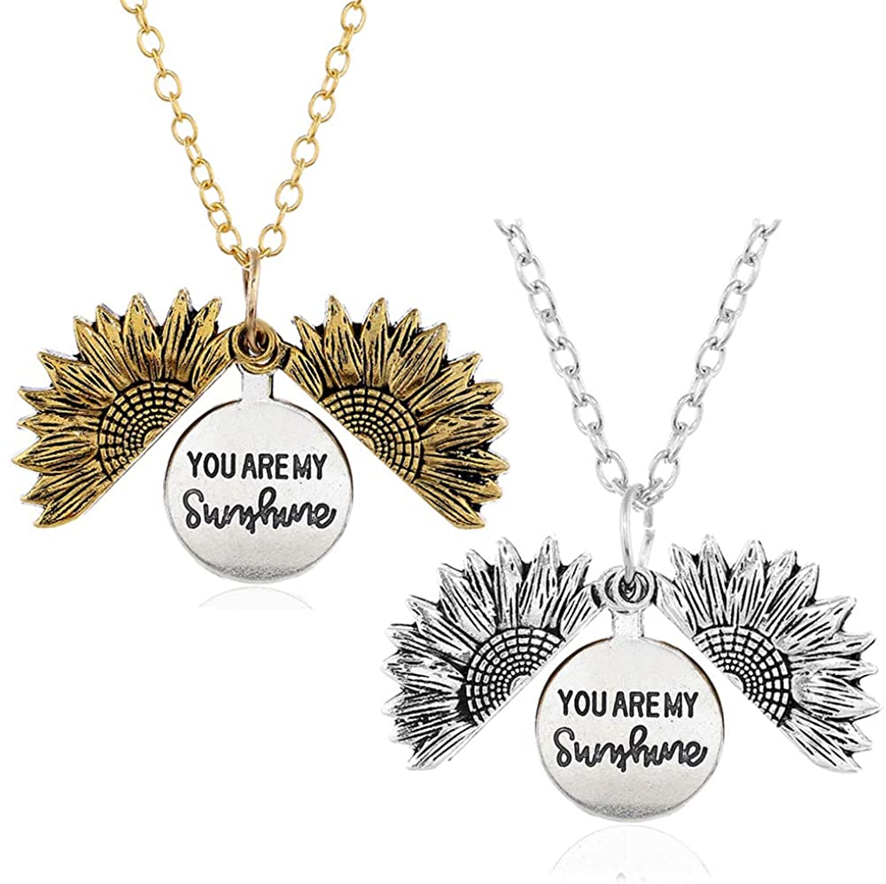 H.ZBRUJ You are My Sunshine Necklace Sunflower Necklace for Mom Engraved Locket Hidden Message Double Sided Pendant Jewelry Gifts for Women