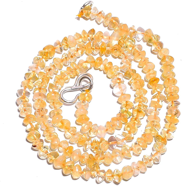 Gemstone Hub Natural Citrine Gemstone Saucer Smooth Beads Necklace 18