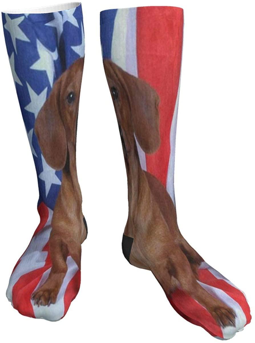 Mens Womens Crew Socks Red Dachshund American Flag Novelty Mid Calf Dress Hiking Socks Man