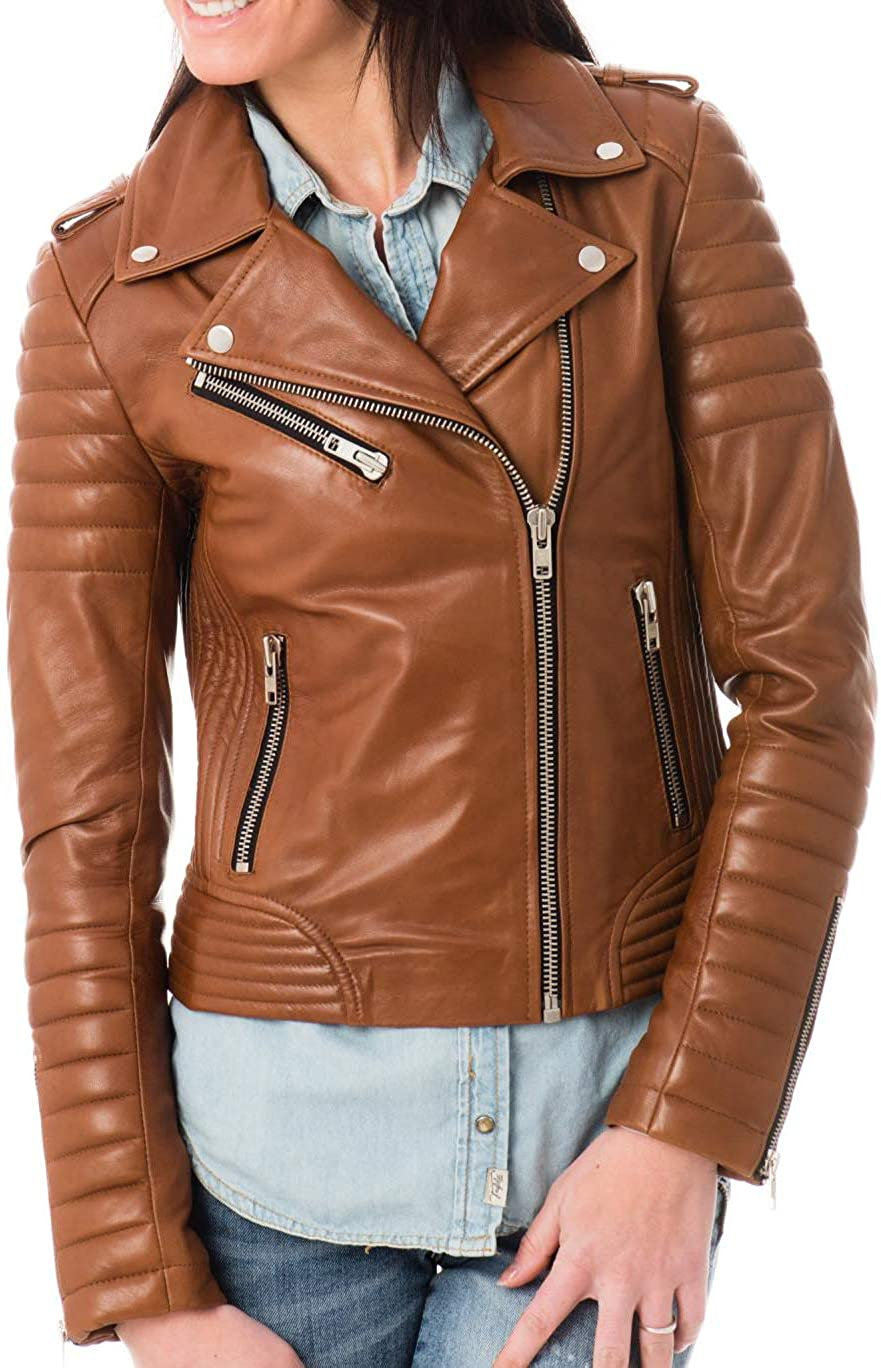 Benjer Skins Women's Leather Jacket Stylish Motorcycle Biker Genuine Lambskin 04