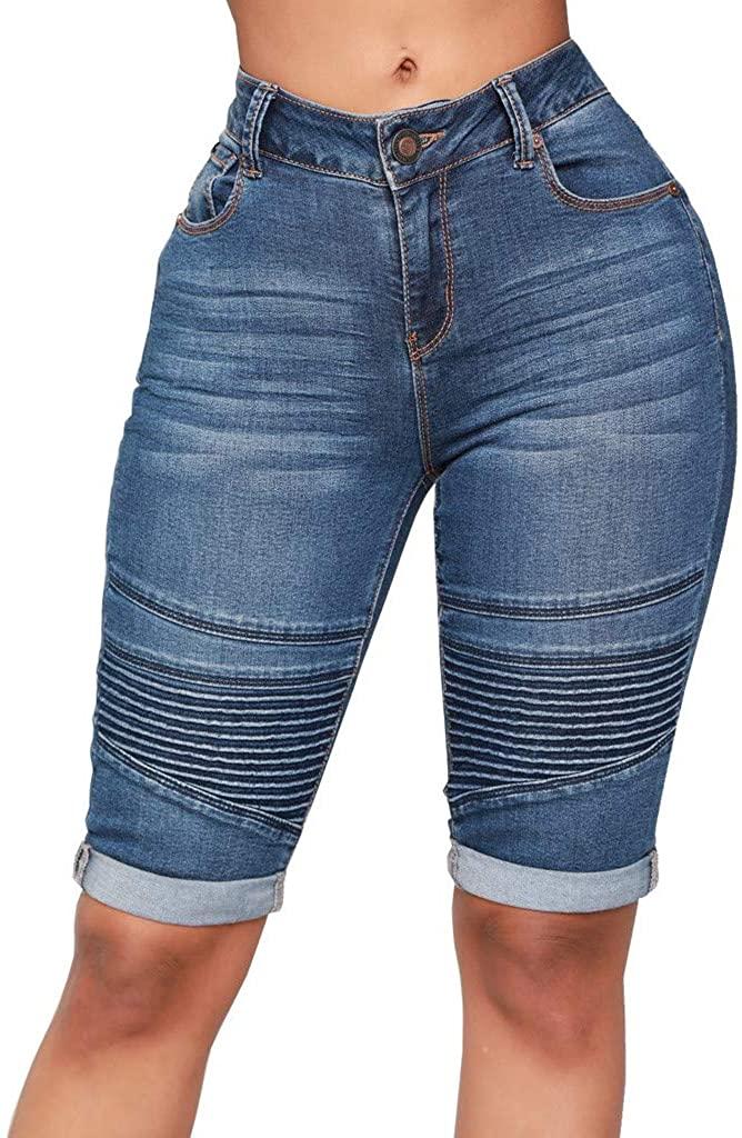 Forthery-Women Knee Length Pleated Stretchy Bermuda Denim Shorts Folded Hem Short Jeans
