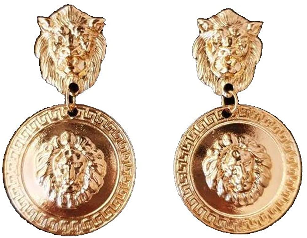 Doubnine Lion Head Earrings Coin Gold Circle Dangle Baroque Animal Earrings Vintage 80's Women Accessories Gift