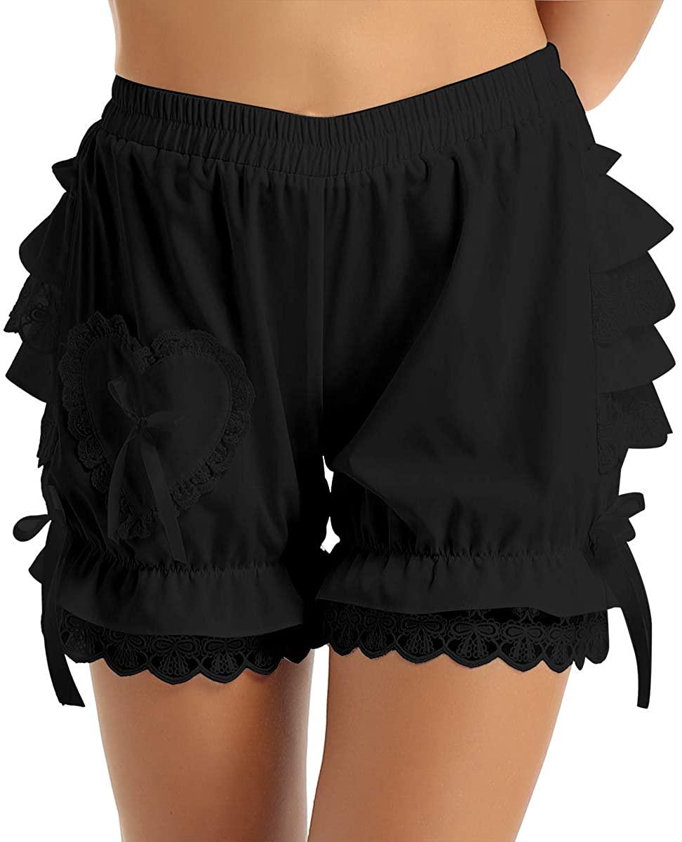 Freebily Womens Victorian Bloomers Layered Ruffle Lace Trim Pumpkin Shorts Pantaloons Shorts