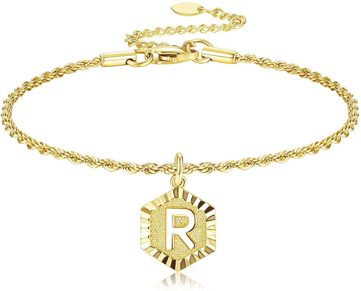 JOERICA Gold Tone Initial Anklet for Women Men Rope Chain Letter Ankle Bracelet with Alphabet Fashion Foot Jewelry with Extension Chain