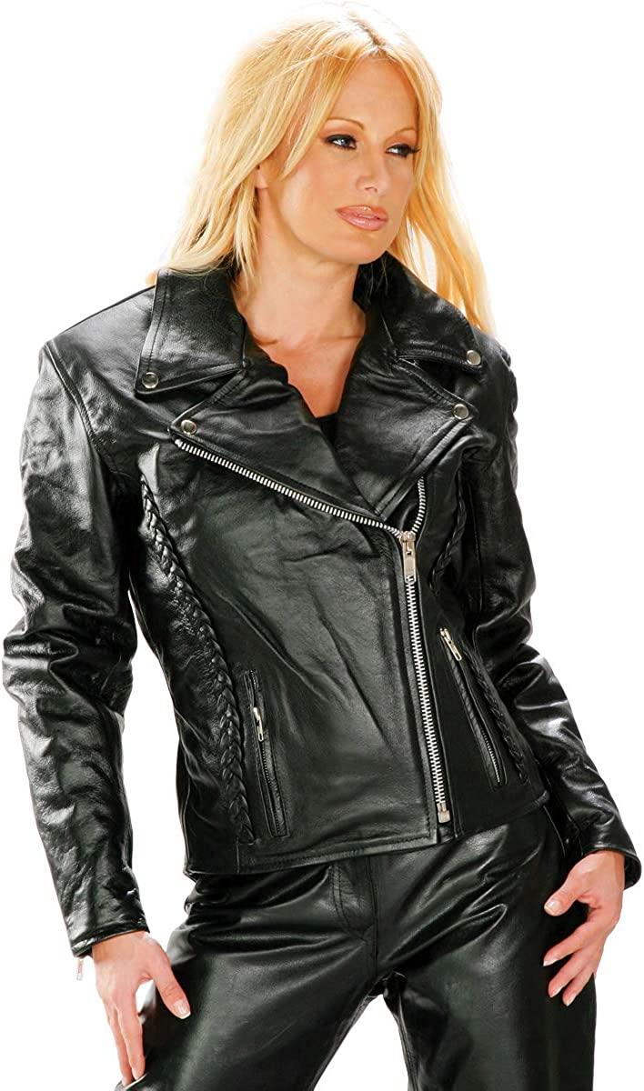 Xelement B8000 'Classic' Women's Black Leather Braided Jacket