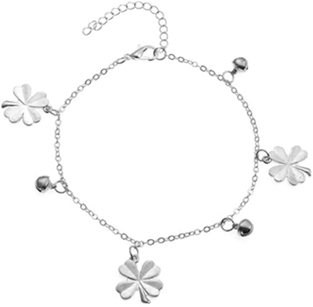 Bomine Simple Ankle Bracelet Flower and Bead Anklets Beach Foot Chain Jewelry for Women and Girls