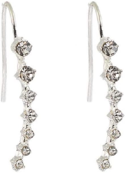 Wenbin Fashion Lady Crystal Earrings Grapevine Climber Wrap Perforated Pin Hook Earrings Cubic Zirconia Cuffs Climbing Jacket Earrings (Gold, Silver) (Silver)