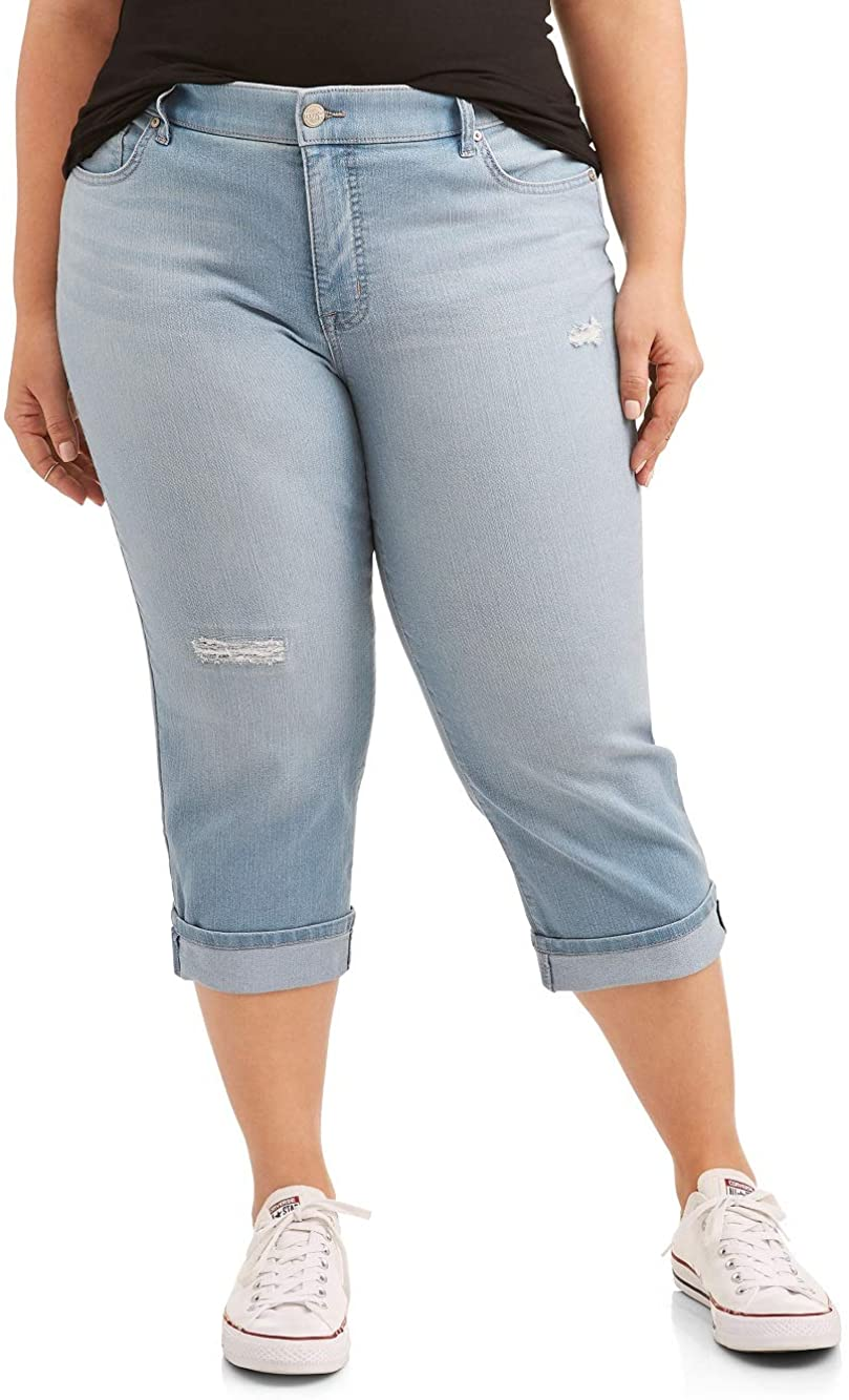 Women's Plus Cuffed Capri Jean (18W, Antigua Wash)
