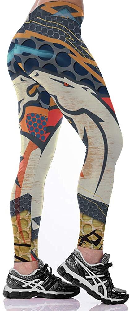 JJCat Women's High Waist 3D Digital Print Casual Fashion Denver Broncos Tight Legging Pants Yoga Pants
