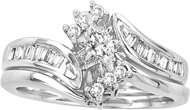 Dazzlingrock Collection 0.5 Carat (Ctw) Marquise Diamond Bridal Wedding Ring Set 1/2 Ctw, 14K White Gold