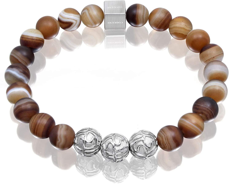COOLUXU Mens Bracelet Natural Premium Gemstone, Bead Bracelet for Men, Agate Blue Tiger Eye Sodalite Turquoise Bracelet with Stainless Steel Charm