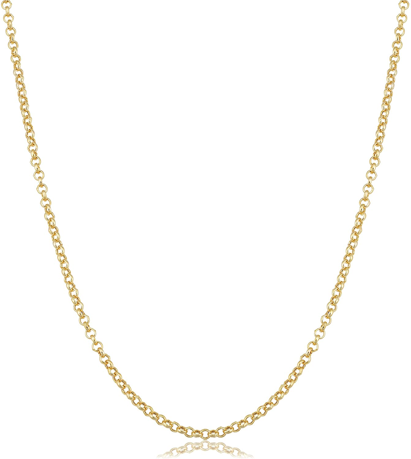 Kooljewelry 14k Yellow Gold 1.9 mm Rolo Chain Necklace (16, 18, 20, 22, 24 or 30 inch)