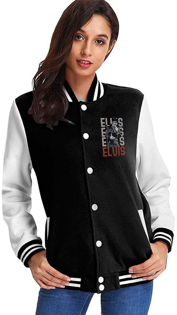 Elvis Presley King of Rock and Roll Music Woman's Girls Baseball Uniform Jacket Coat Sweater Coat