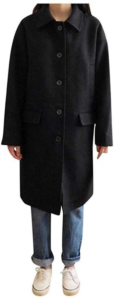 LEKODE Coat Women's Warm Solid Lapel Long Sleeve Trench