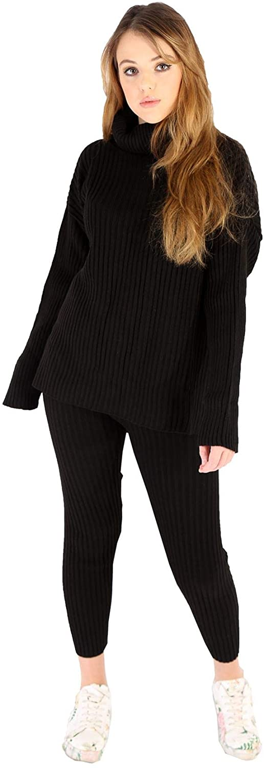Womens Chunky Cable Knitted High Roll Neck Top Bottom Loungewear 2 Piece Set Tracksuit