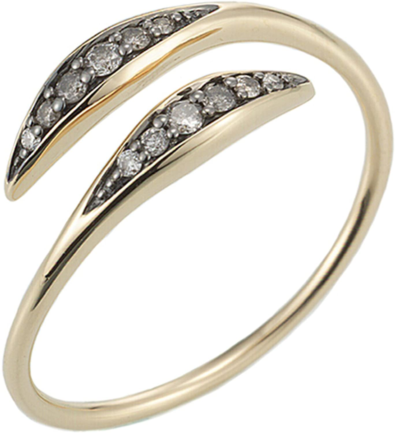 JEWELISTA Natural Diamond Bypass Ring in 14K Yellow Gold