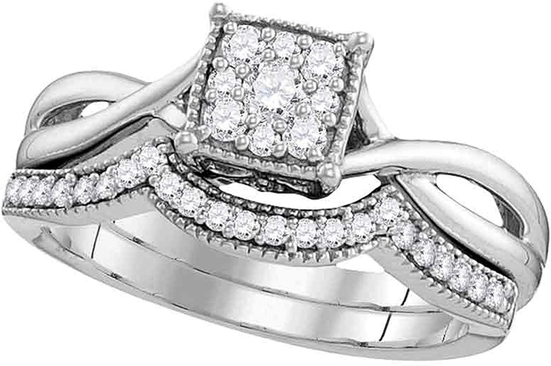 Dazzlingrock Collection 0.33 Carat (ctw) Diamond Flower Cluster Bridal Wedding Ring Set 1/3 Ctw, 10K White Gold