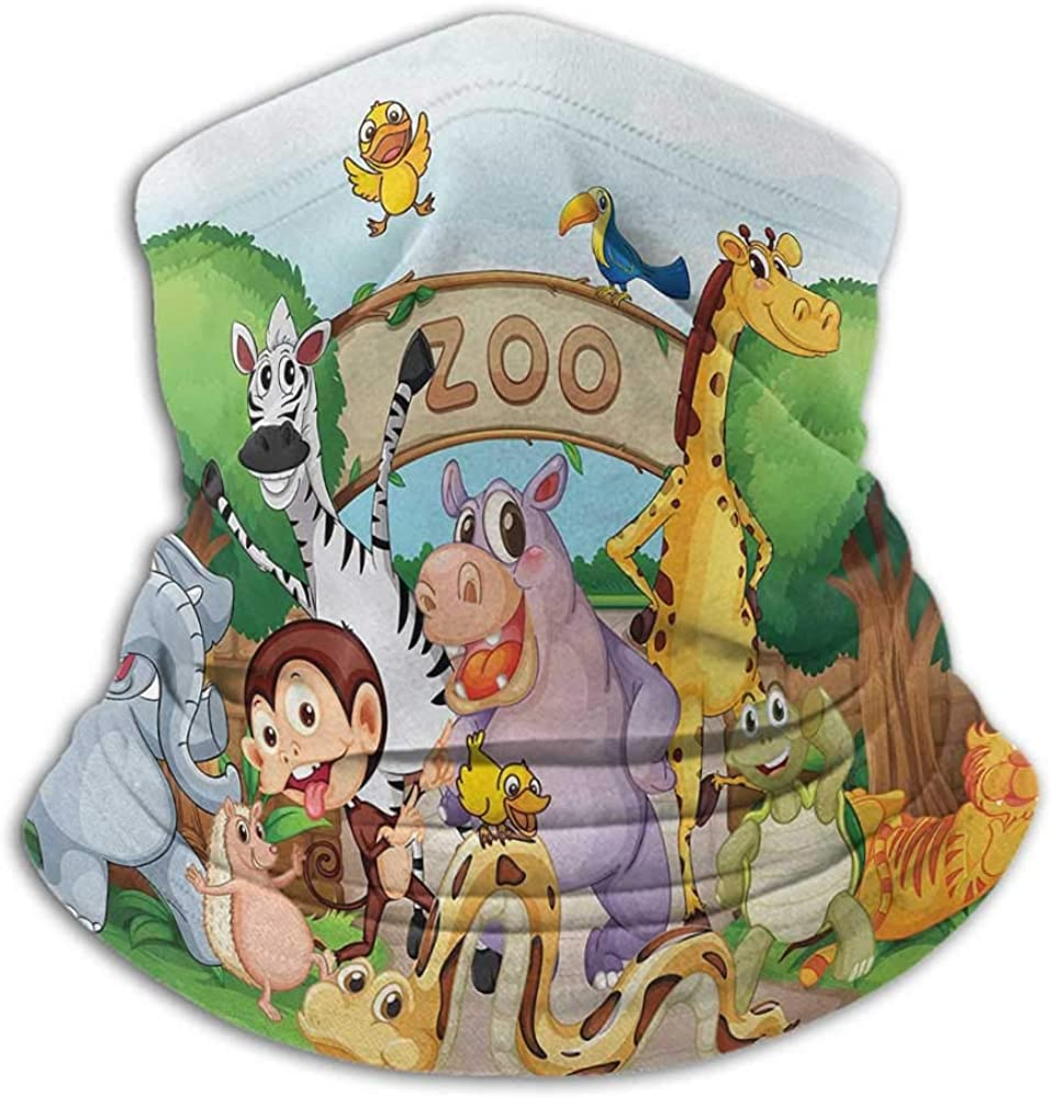 Face Bandanas Zoo Headband Neck Gaiter Zoo and The Animals in Beautiful Nature Welcoming Playful Outdoors Forest Landscape Multicolor