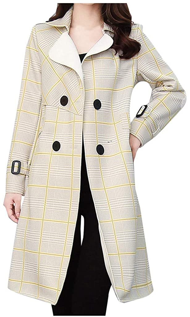 Women Windproof Long Coat Plaid Print Double-Breasted Popular Coat Open Front Temperament Outerwear with Pocket