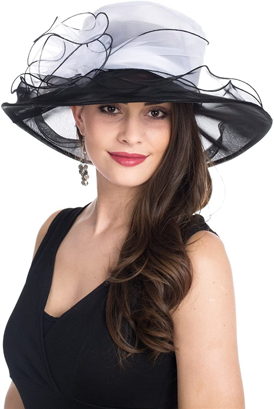 SAFERIN Lady Tea Party Kentucky Derby Church Wedding Dress Church Hat Bridal Shower