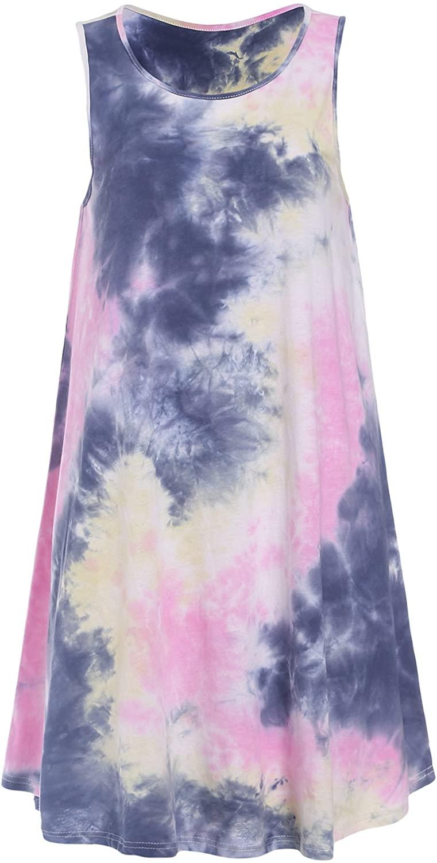 Romwe Women's Tie Dye T-Shirt Sleeveless Casual Loose Swing Dress Tunic Top Pink M