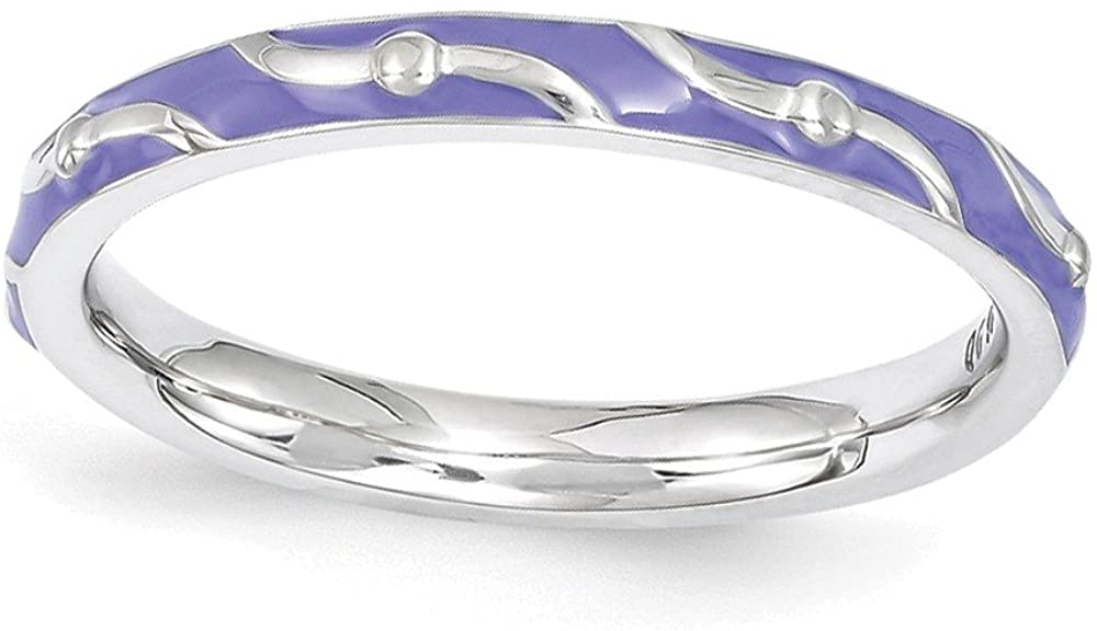 Sterling Silver Stackable Expressions Purple Enamel Ring