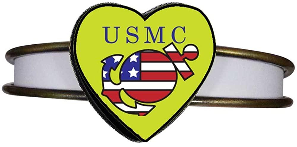 GiftJewelryShop Bronze Retro Style American USMC Sailor Heart Cuff Bangle Bracelet Fashion Jewelry