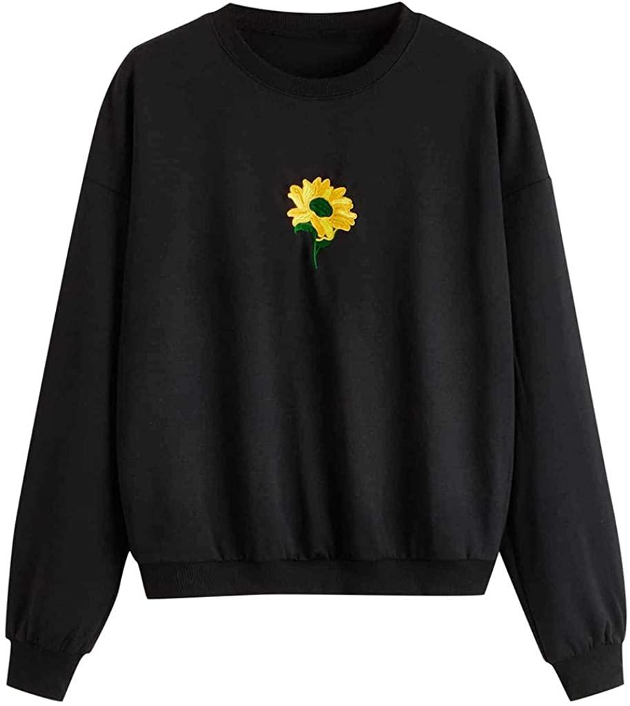 LINKIOM Women Sweatshirt Long Sleeve Pocket Pullover Sunflower EmbroiderTunic Top Blouse