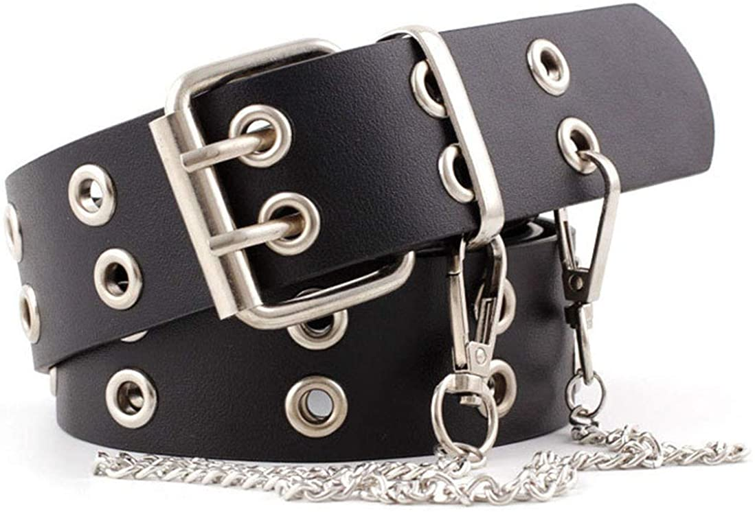 Mealah Womens Double Grommet-Leather-Belt with Chains Buckles Punk-Waist-Belts for Dress